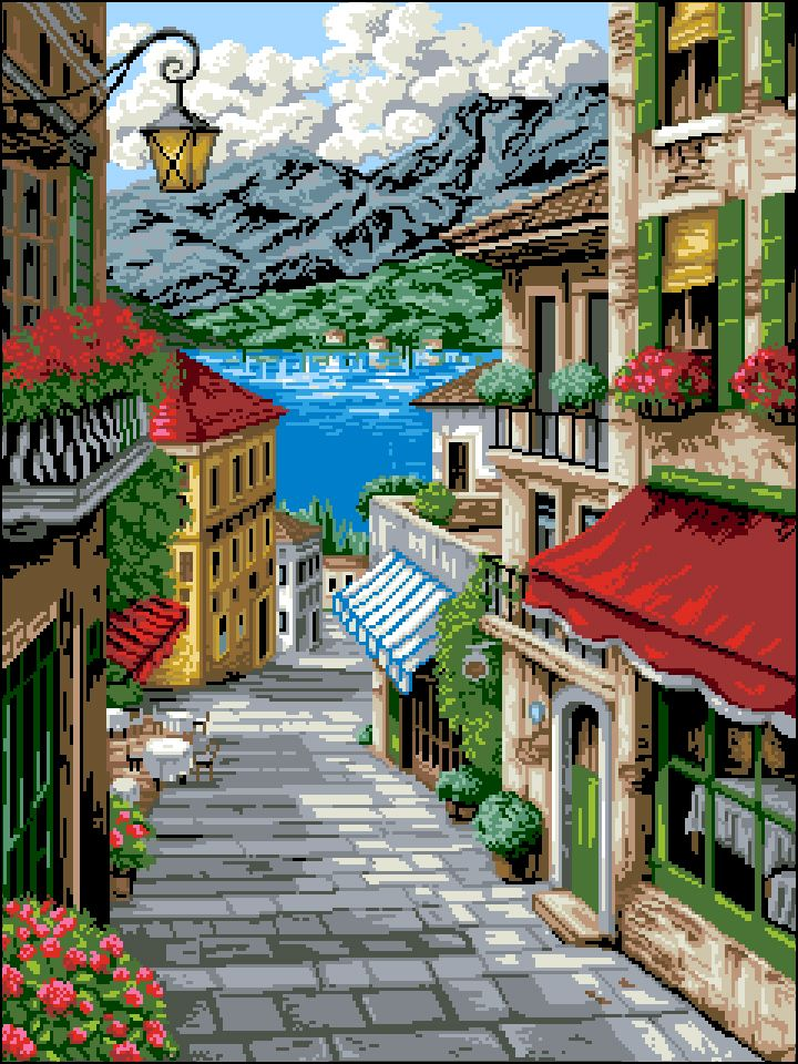 П-018 Канва с рисунком 'Гелиос' 'Морская улочка', 42,5х55 см