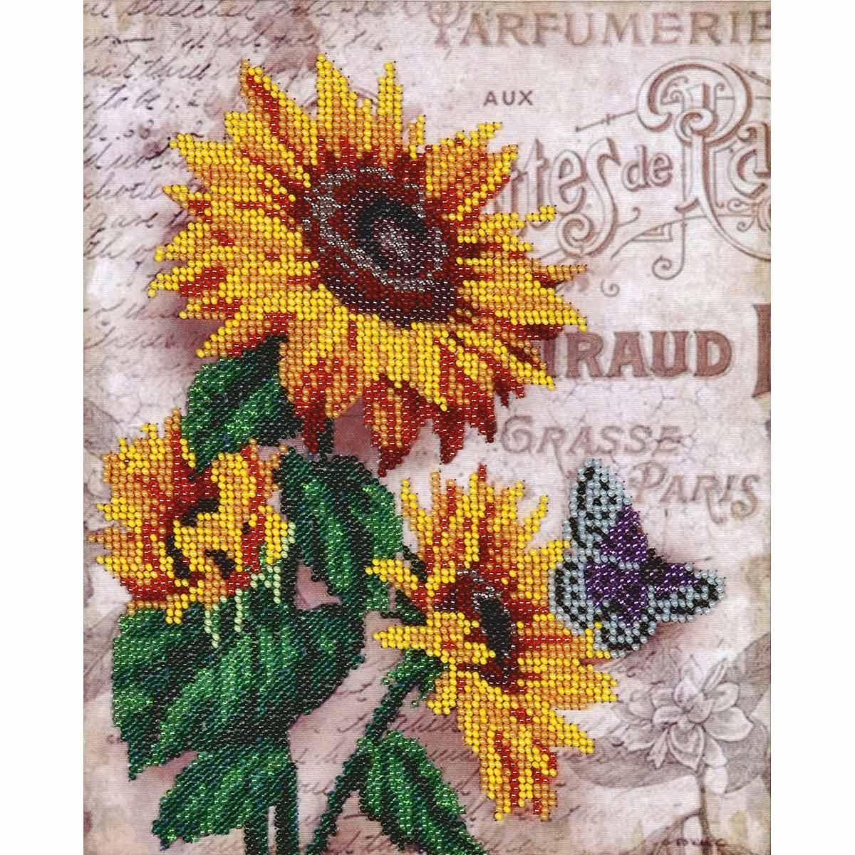 БН-3106 Набор для вышивания бисером Hobby&Pro 'Подсолнухи и бабочка', 20*26 см