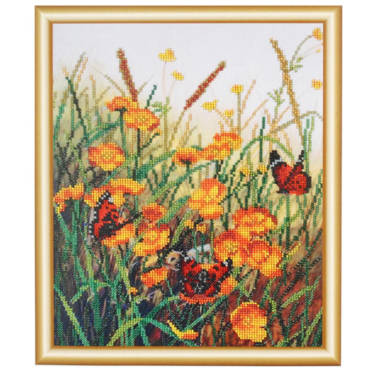 БН-3107 Набор для вышивания бисером Hobby&Pro 'Бабочки на полевых цветах', 25*31 см