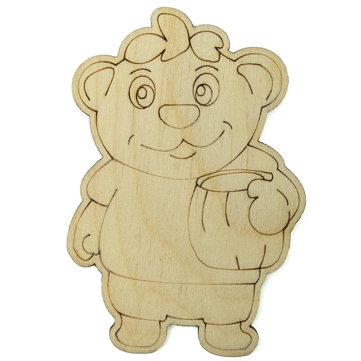 L-429 Деревянная заготовка 'Мишка с медом', 7*9 см, 'Астра'