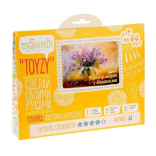 TZ-P007 Картина шерстью «Натюрморт с вишнями» 29,7х21 см (А4) Toyzy