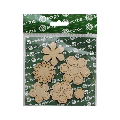 L-472 Деревянная заготовка 'Цветочки 2', от 2 до 5 см, упак./6 шт., 'Астра'