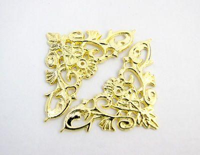 24035 Декор. накладка FL-165-2 для шкатулок 46*46мм, золото, уп.-4шт.