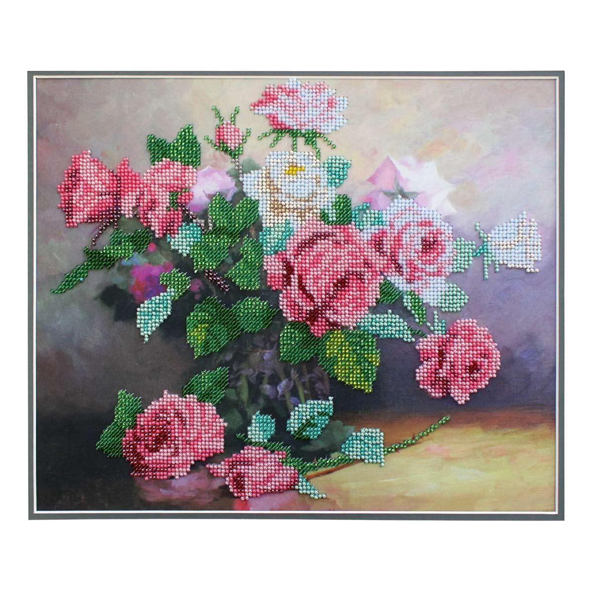 БН-3128 Набор для вышивания бисером Hobby&Pro 'Букет роз', 30*25 см