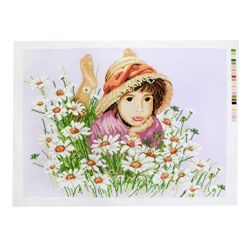 А-019 Канва с рисунком 'Гелиос' 'Ромашковое поле', 37,5х51 см