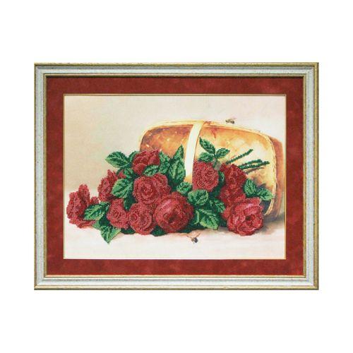 Б-0005 Набор для вышивания бисером 'Ажур', 'Розы в корзине' 30х40 см