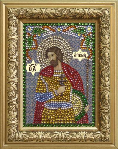 0303 Набор для выкладывания стразами 'Святой великомученик Артемий' 10,5*14,8 см