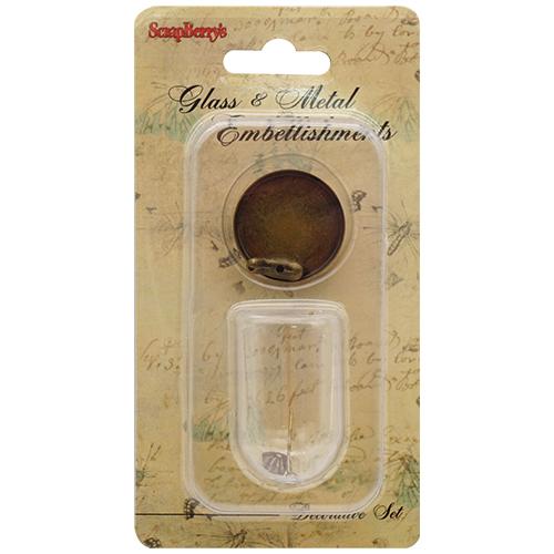 SCB24001015 Набор стеклянный мини-колпак с птичкой 28*38мм