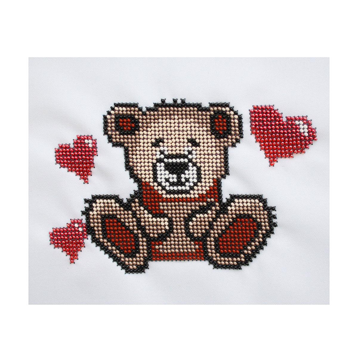 Б-0078 Набор для вышивания бисером 'Бисеринка' 'Мишка с сердцами', 16*11 см