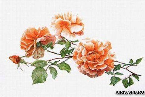 414А Набор для вышивания Gouverneur 'Три розы', Аида, 44*65 см