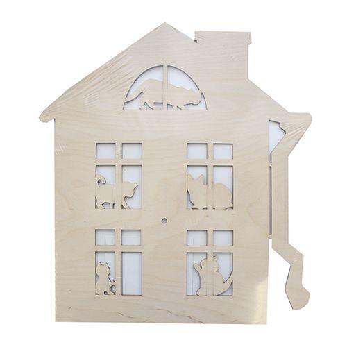L-557 Деревянная заготовка часы 'Кошкин дом' 35*39 см Астра