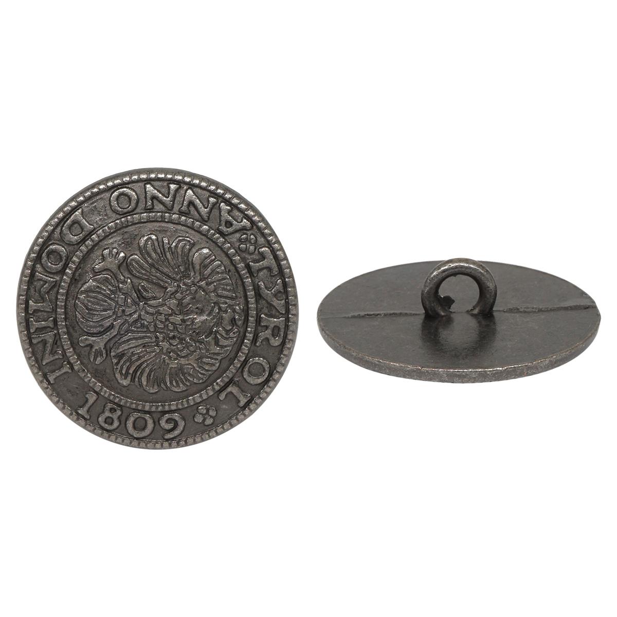 64405 Пуговица на ножке 20мм. т.сереб. 'герб'
