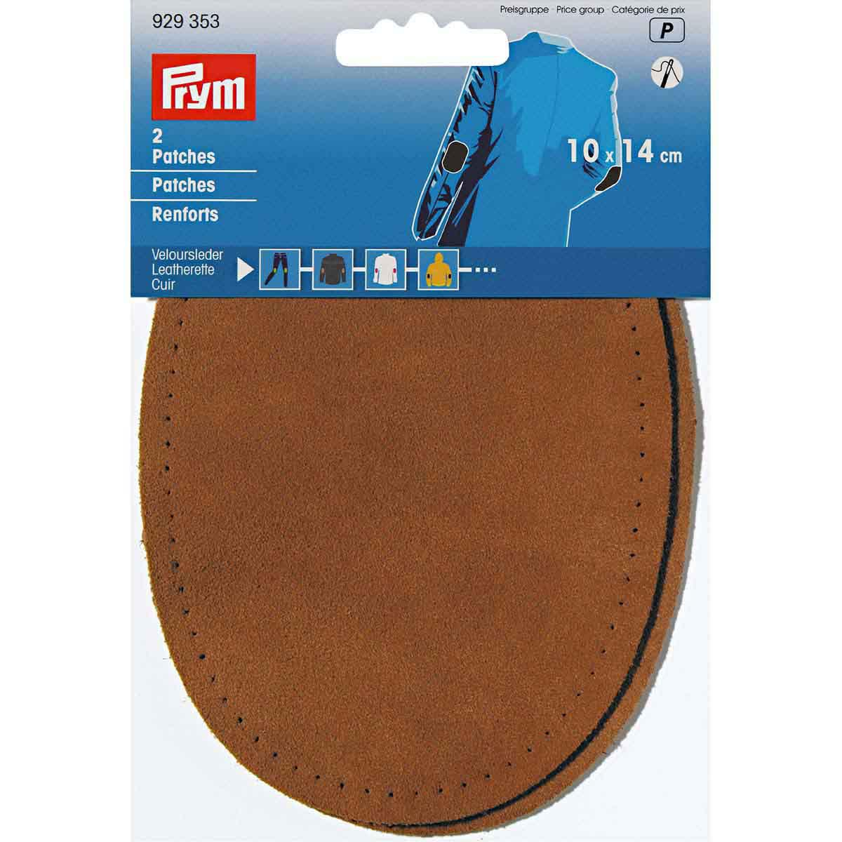 929353 Заплатки пришивные велюр-кожа 10*14см, 2шт, коричневый цв. Prym