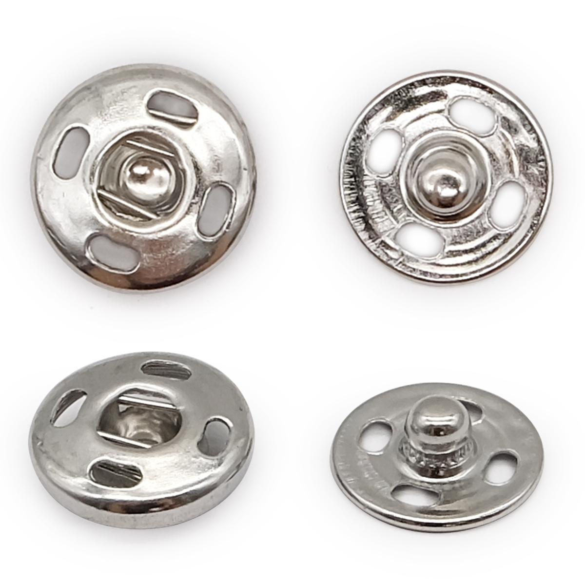Кнопка пришивная PBM-2 мет. 12мм. ник. (36шт.) Кф (0300-5100)