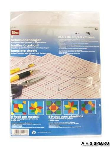 611148 Трафаретные листы для изгот. шаблонов 21,5*28см с растровой сеткой Prym