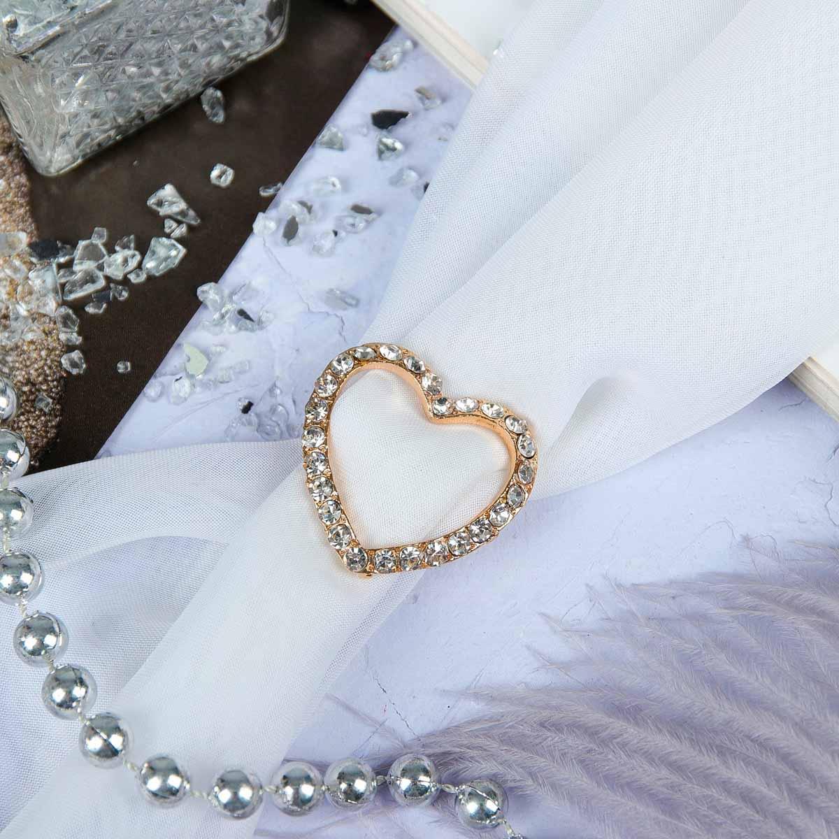 3714477 Пряжка для платка 'Сердце', цвет белый в золоте