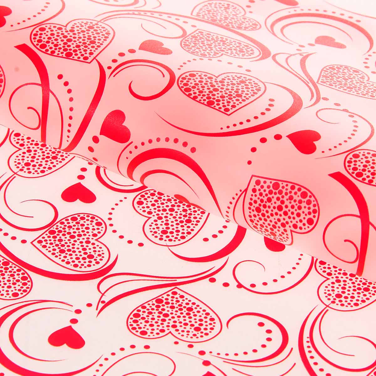 894813 Плёнка для цветов и подарков 'Сердечки красные', 60*60 см