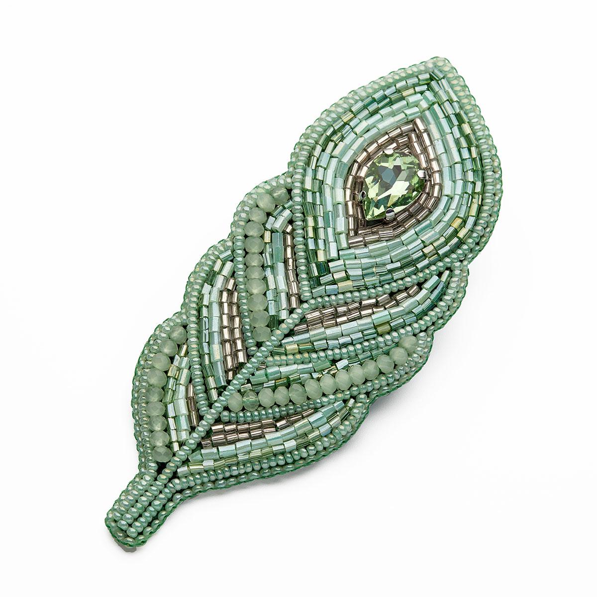 НБР-18007/1 Набор для вышивания бисером: Брошь «Перо зеленое»