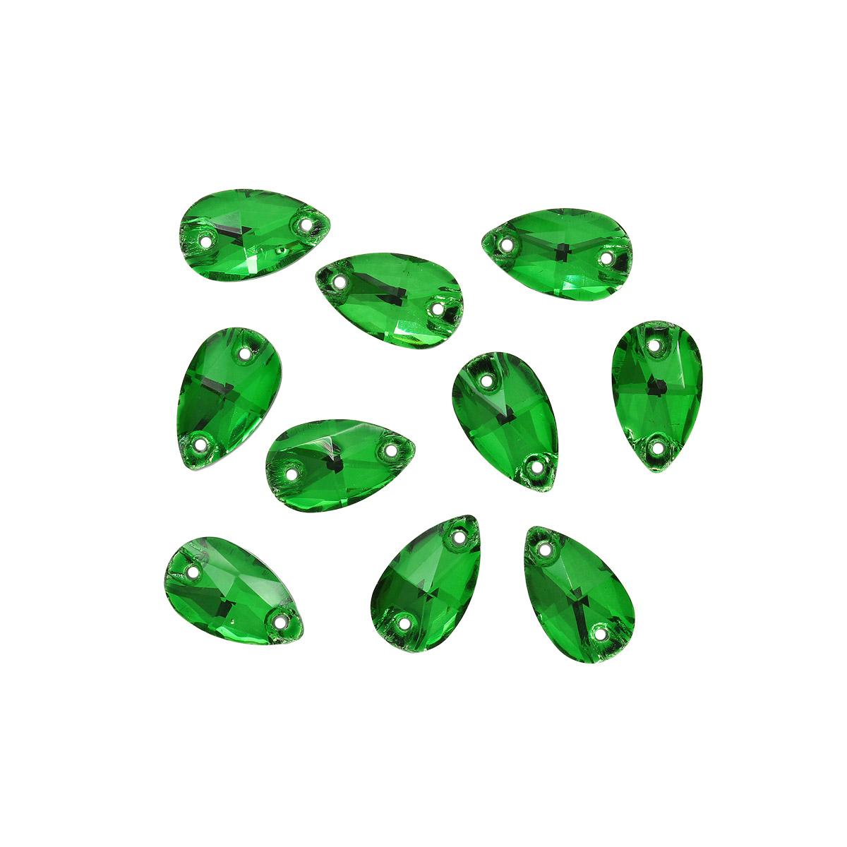 ХК008НН712 Хрустальные стразы пришивные формы 'капля', зеленый 7х12 мм 10 шт/упак.