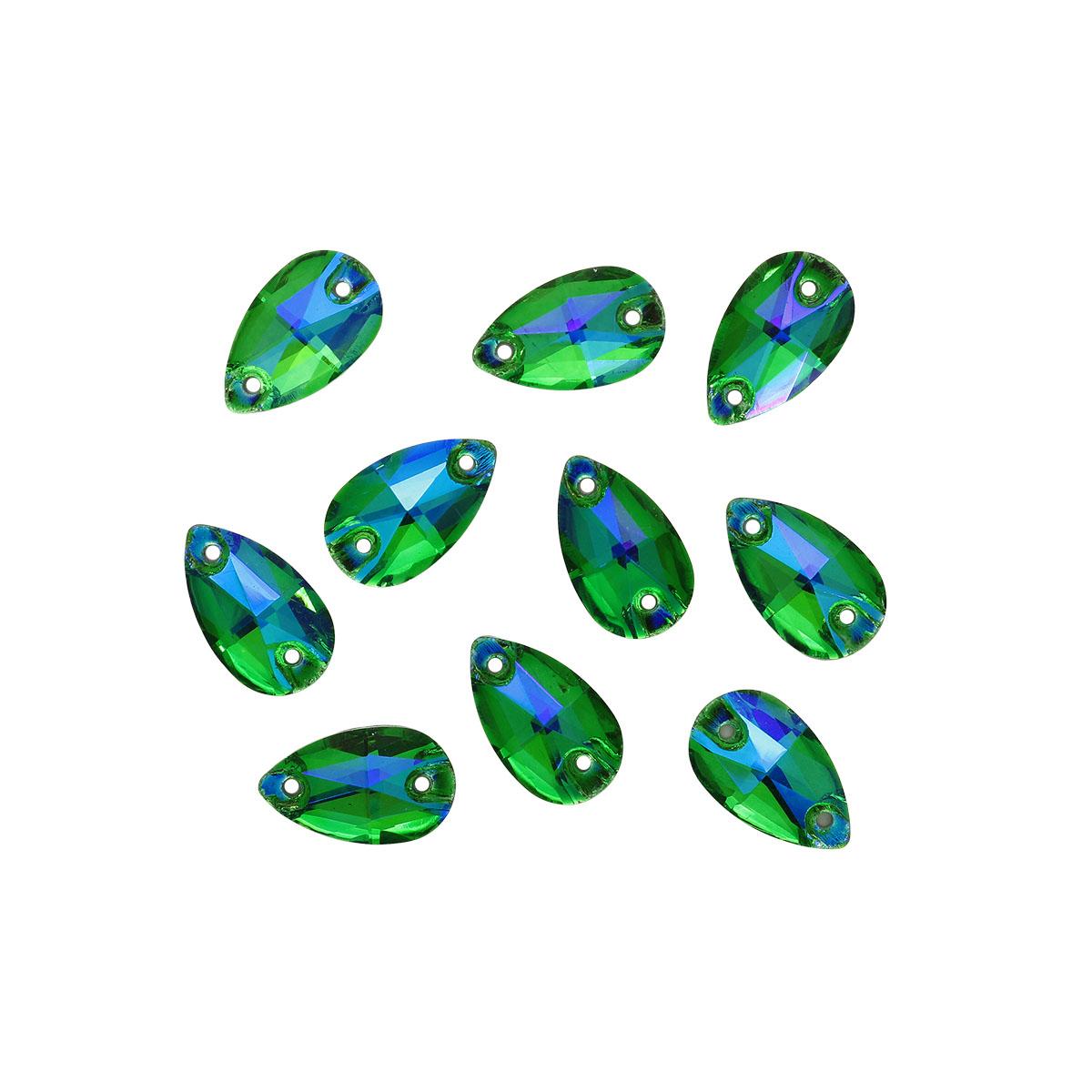 ХК009НН712 Хрустальные стразы пришивные формы 'капля', зеленый с синим покрытием AB 7х12 мм 10 шт/уп