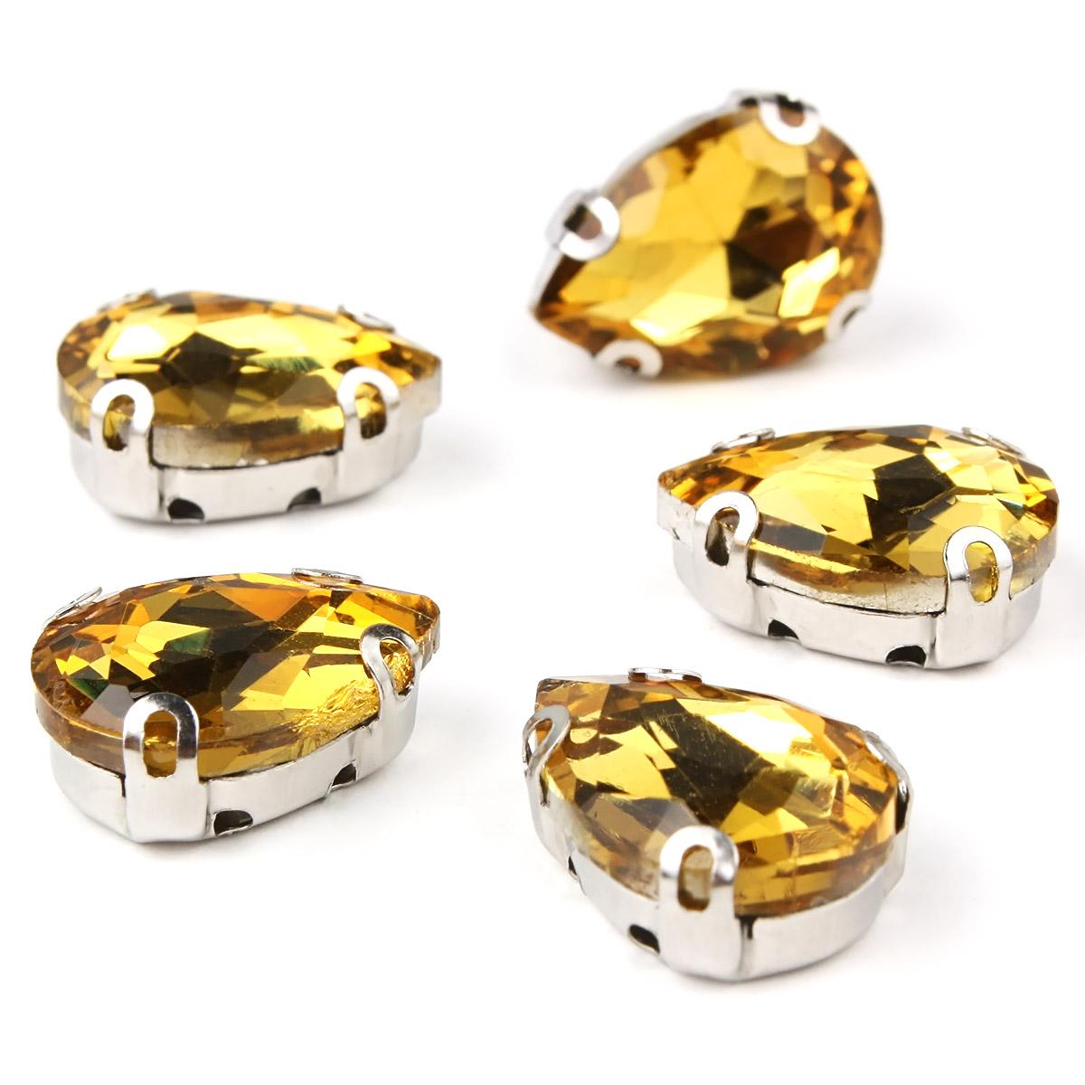 АЦ004НН1014 Хрустальные стразы в цапах формы 'капля', желтый 10х14 мм, 5 шт.