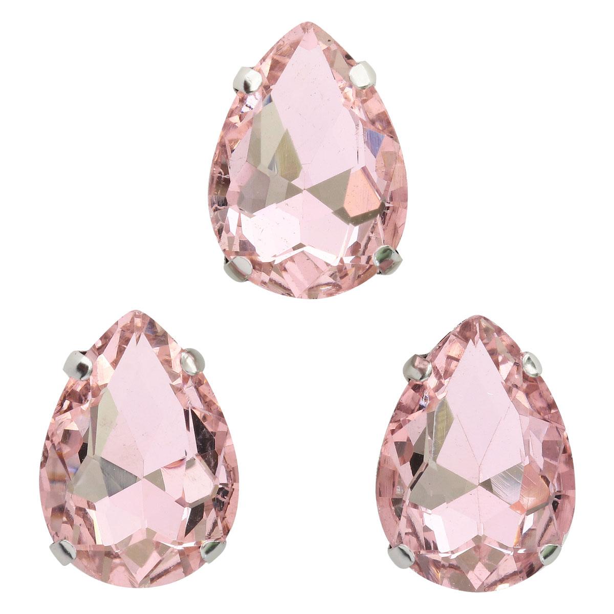 АЦ006НН1318 Хрустальные стразы в цапах формы 'капля', розовый 13х18 мм, 3 шт.