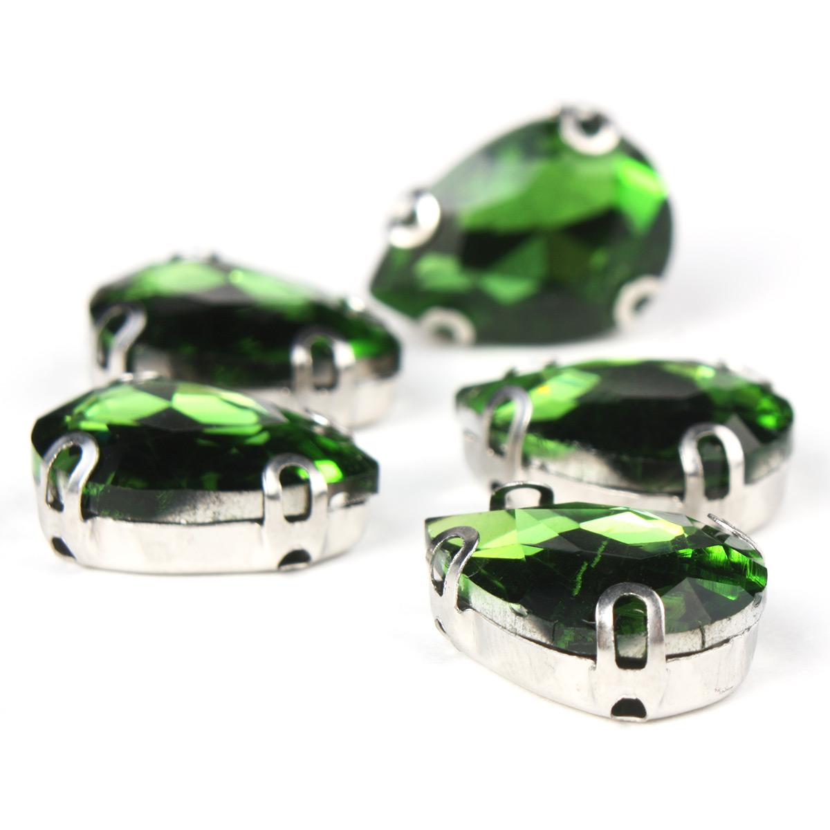 АЦ008НН1014 Хрустальные стразы в цапах формы 'капля', зеленый 10х14 мм, 5 шт.
