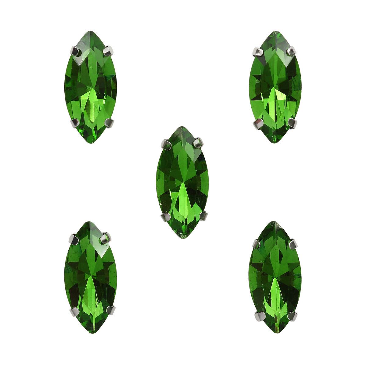 МЦ007НН715 Хрустальные стразы в цапах формы 'миндаль', зеленый 7х15 мм, 5 шт.