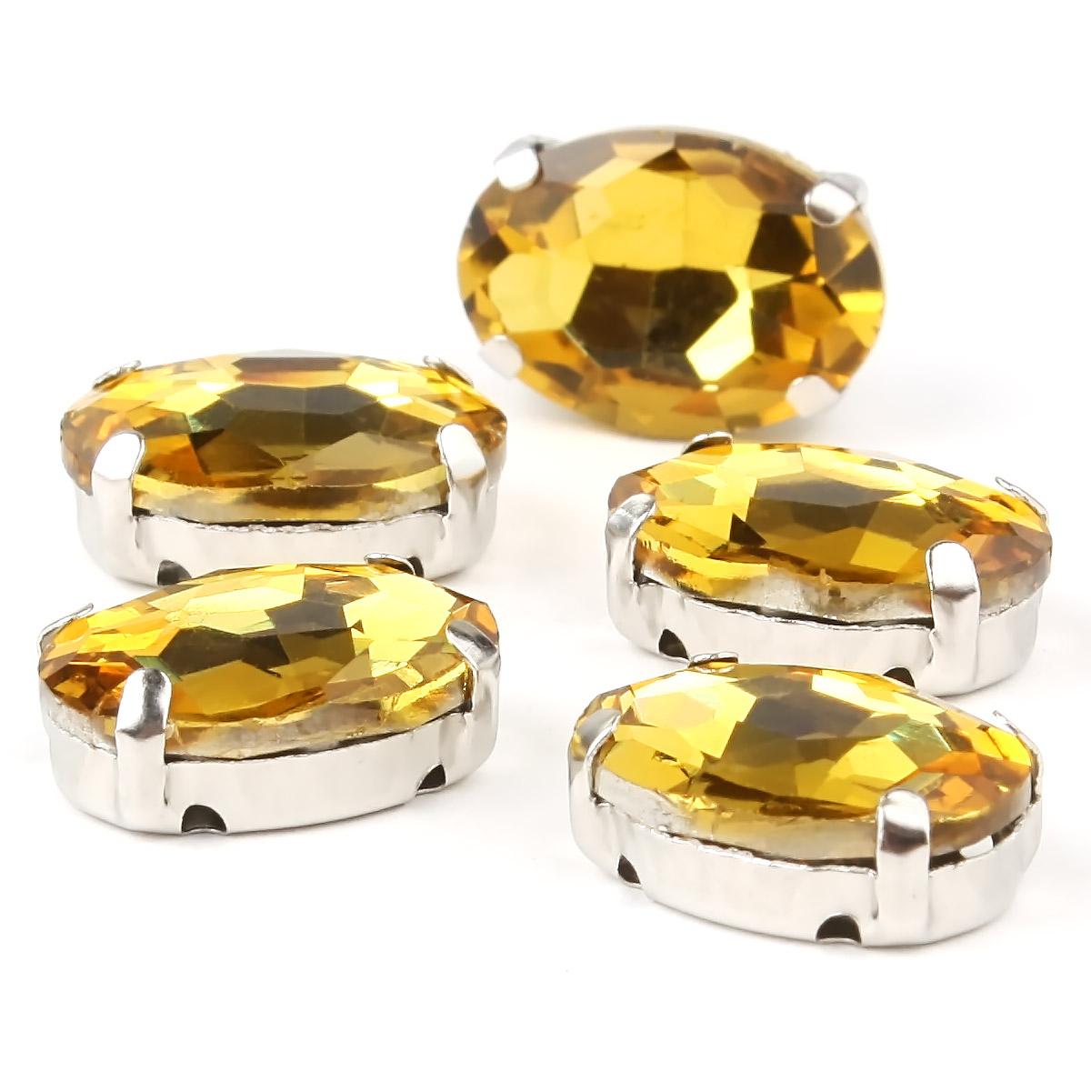 ОЦ004НН1014 Хрустальные стразы в цапах овальной формы, желтый 10х14 мм, 5 шт.