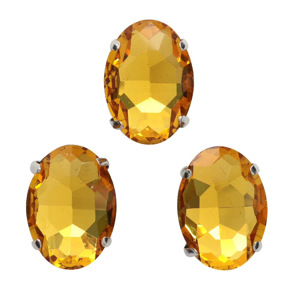 ОЦ004НН1318 Хрустальные стразы в цапах овальной формы, желтый 13х18 мм, 3 шт.