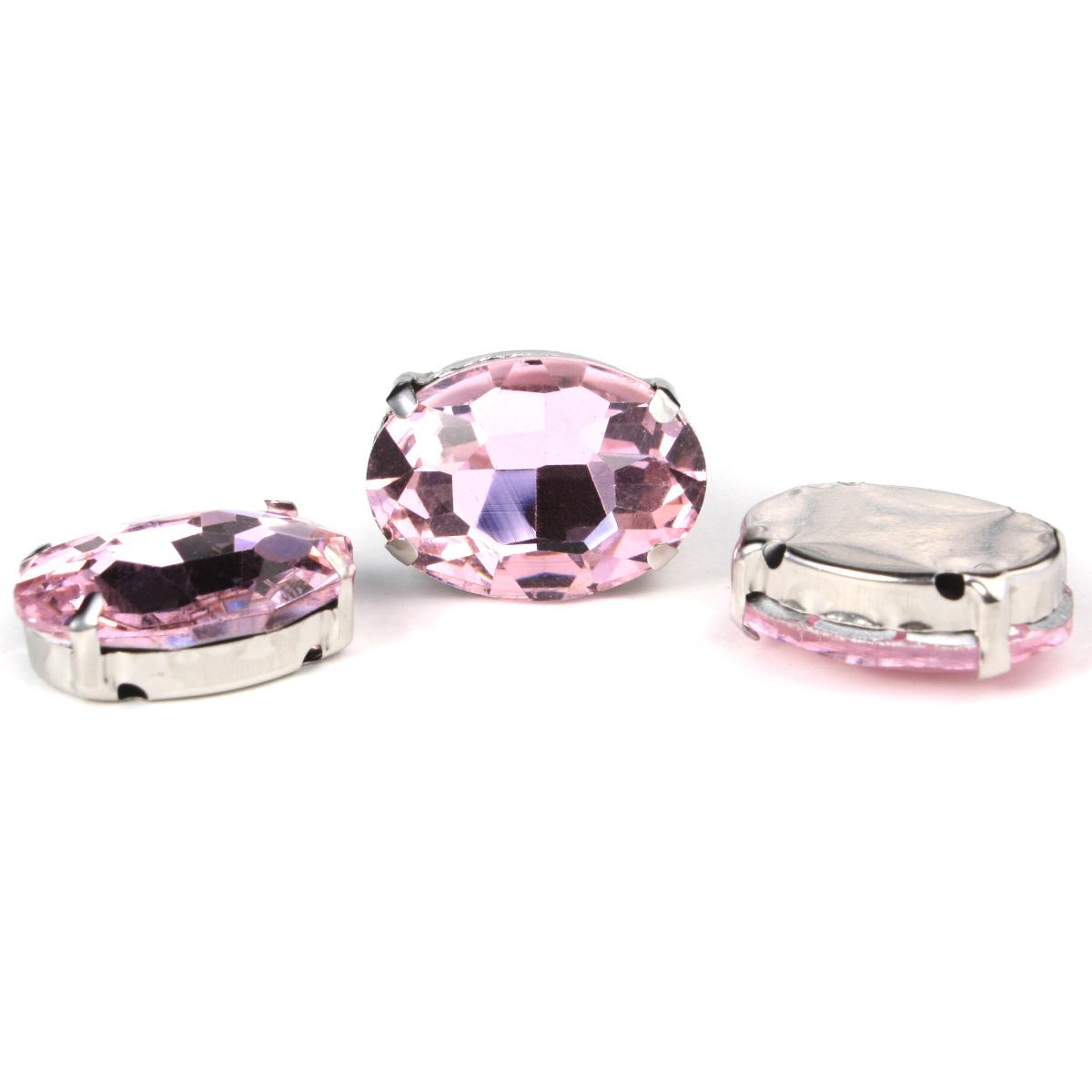 ОЦ007НН1318 Хрустальные стразы в цапах овальной формы, розовый 13х18 мм, 3 шт