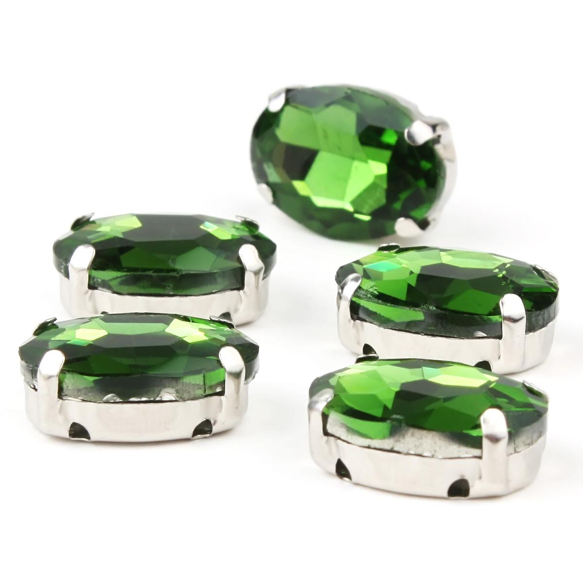 ОЦ008НН1014 Хрустальные стразы в цапах овальной формы, зеленый 10х14 мм, 5 шт.