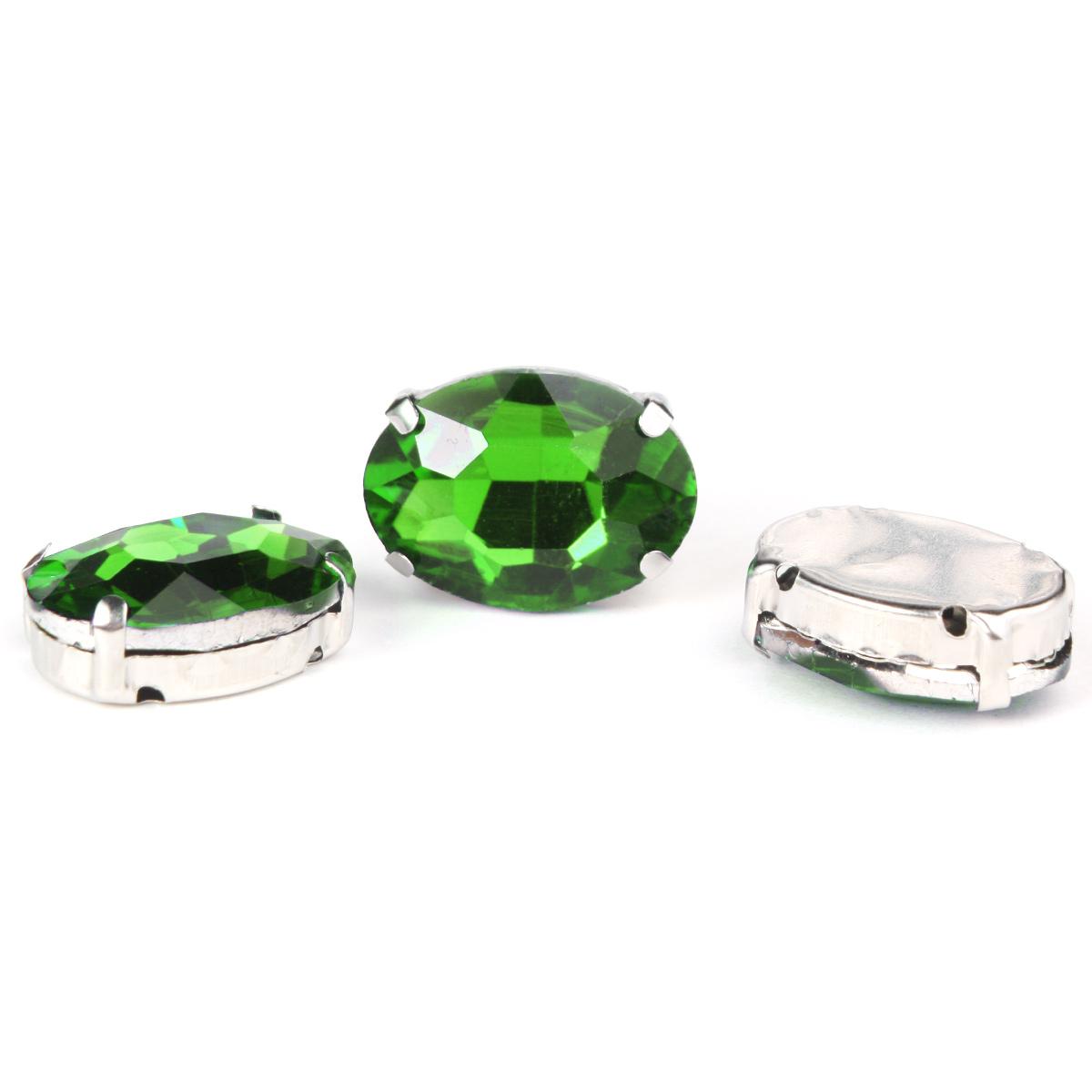 ОЦ008НН1318 Хрустальные стразы в цапах овальной формы, зеленый 13х18 мм, 3 шт