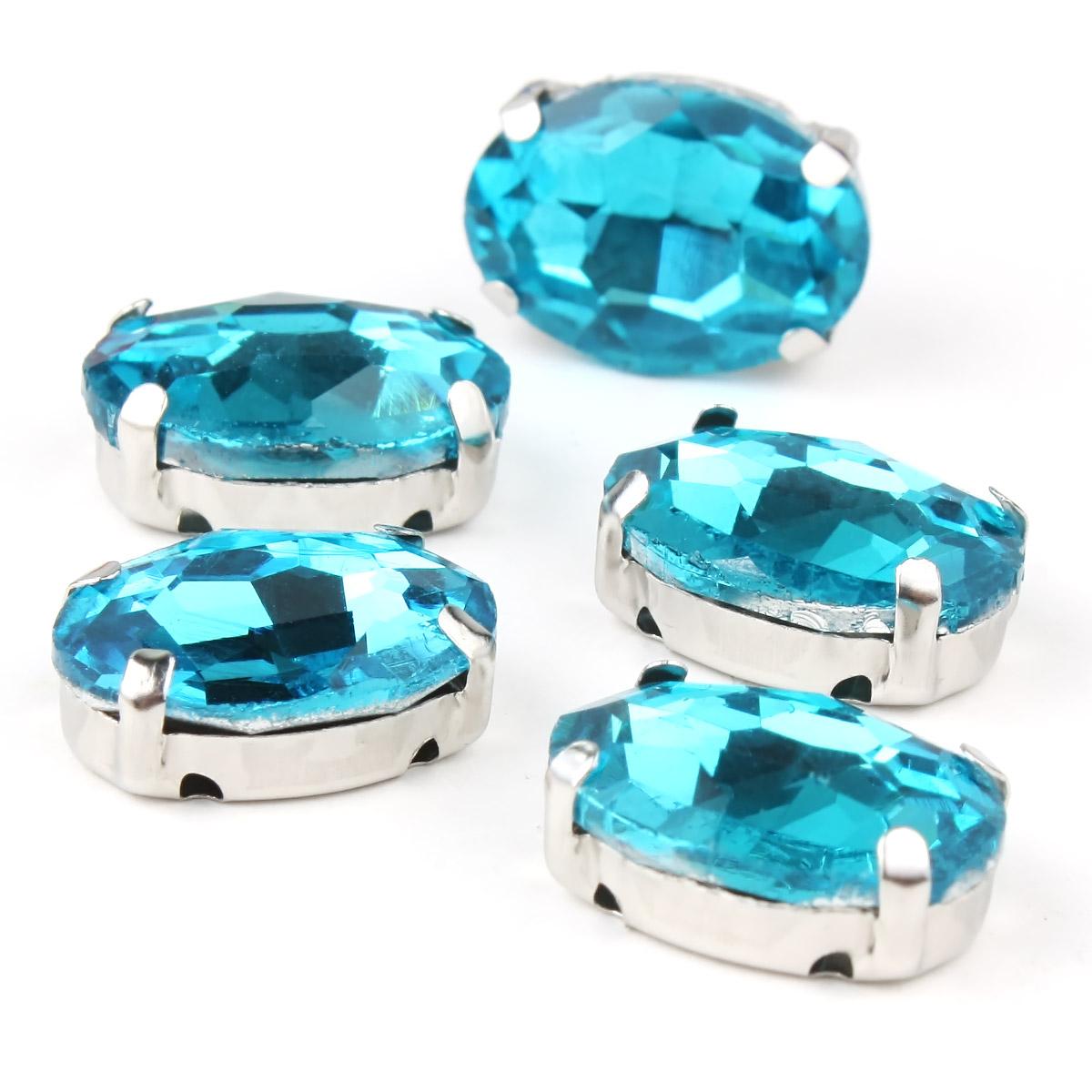 ОЦ010НН1014 Хрустальные стразы в цапах овальной формы, голубой 10х14 мм, 5 шт.