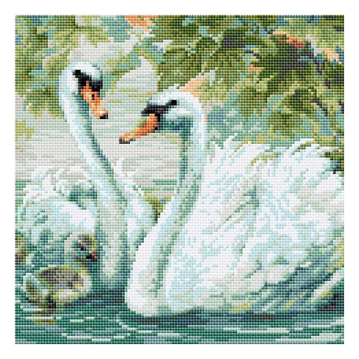 AM0036 Набор алмазной мозаики Риолис «Белые лебеди» 30*30см