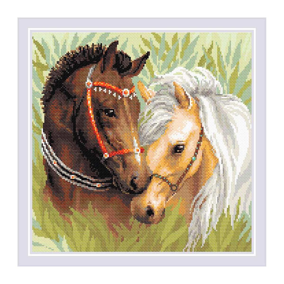 AM0039 Набор алмазной мозаики Риолис «Пара лошадей» 40*40см фото