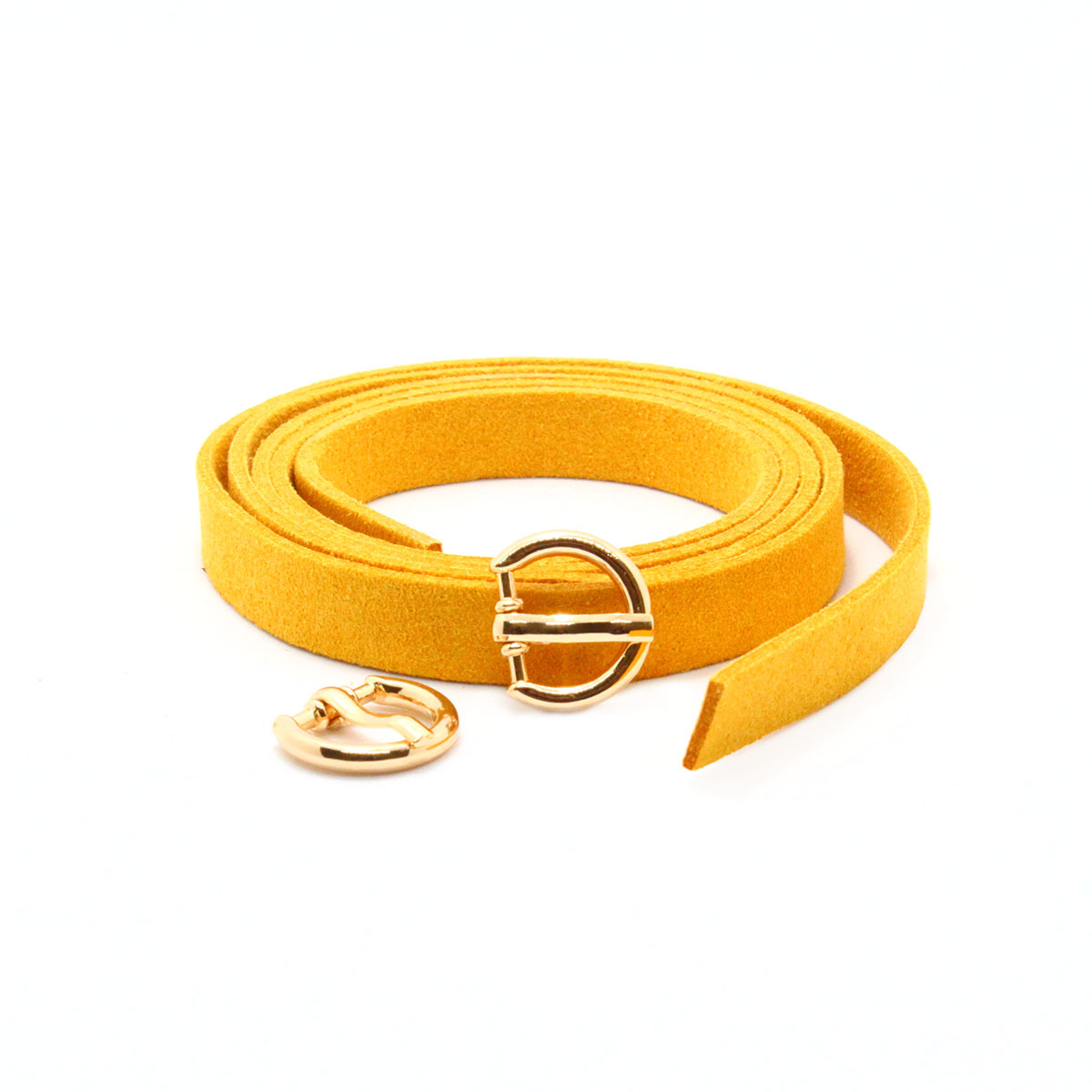 28849 Ремешок горч. из иск.замши 0,9см*0,8м. + пряжка мини С3370 золото упак/2 шт