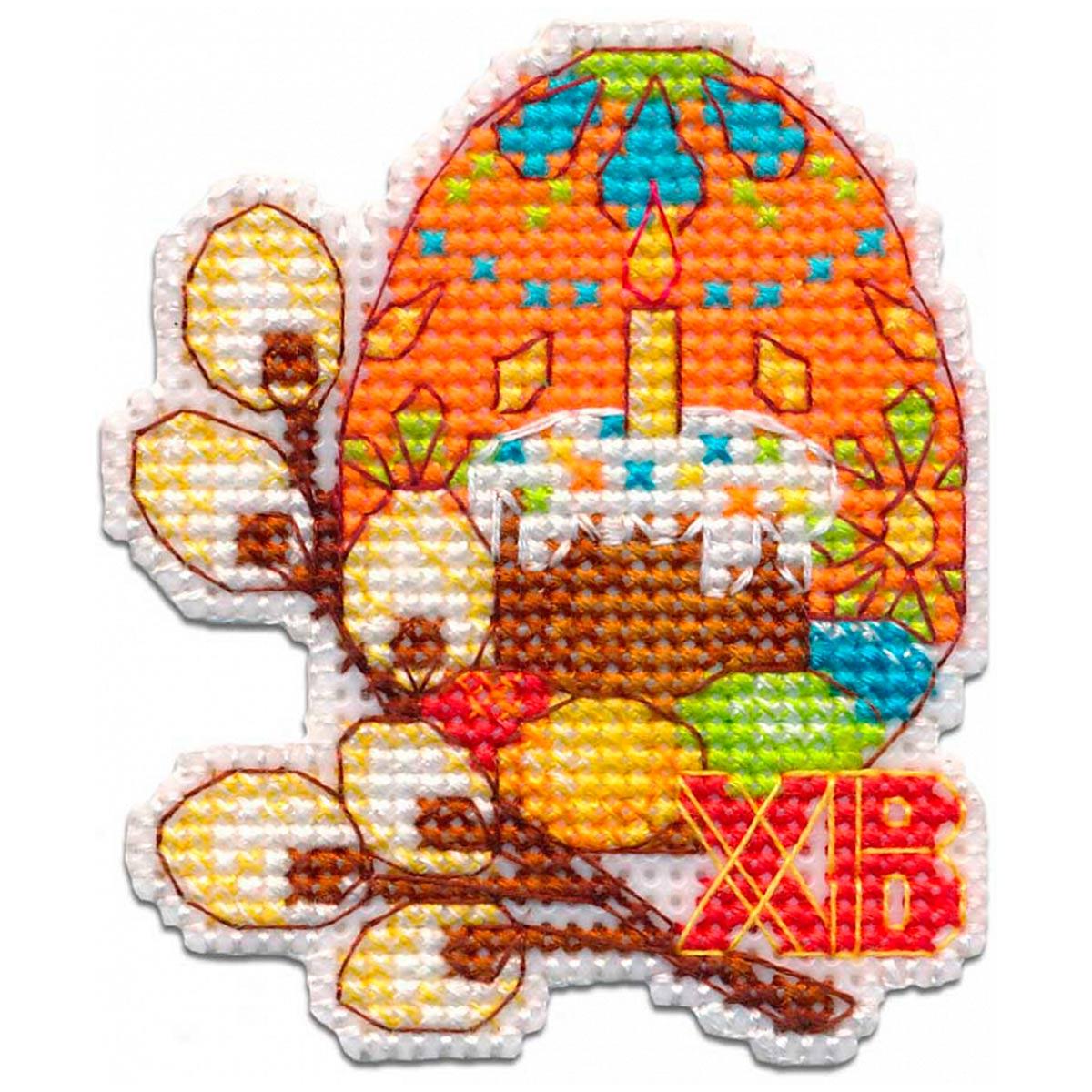 1289 Магнит на пластиковой канве ОВЕН 'Пасхальное яйцо'6,3×7,3см