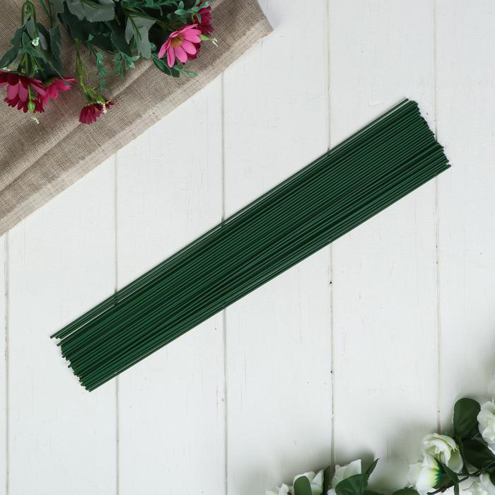 915347 Проволока для изготовления искусственных цветов 'Зелёная' длина 40 см сечение 0,2 см