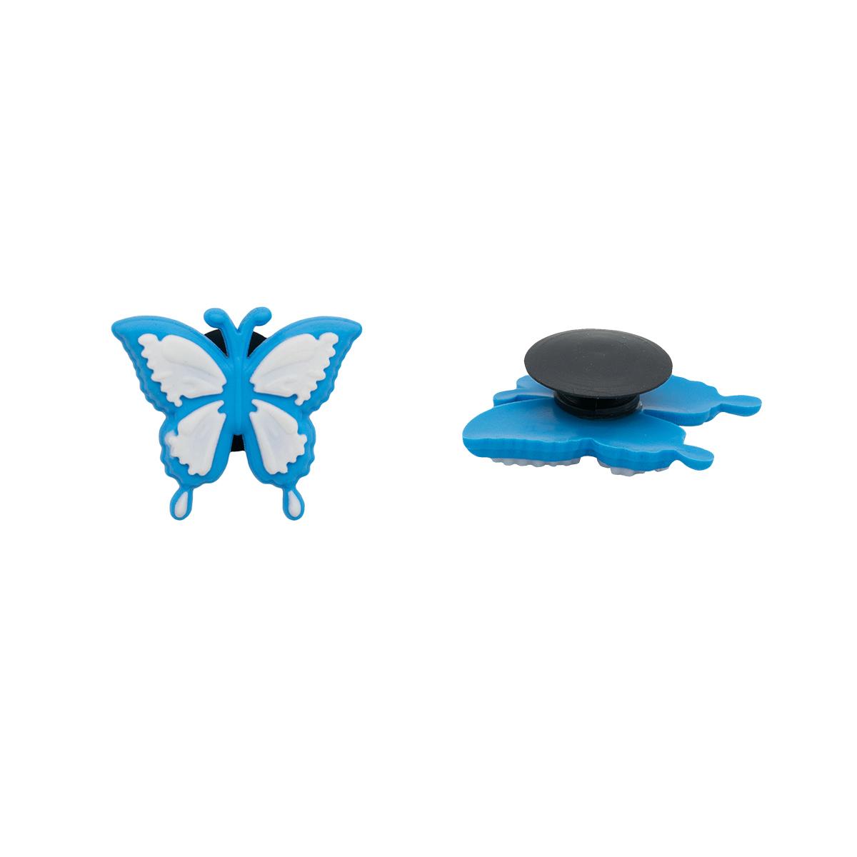 Украшение для обуви и сумок «Бабочка» (бело-голубой)
