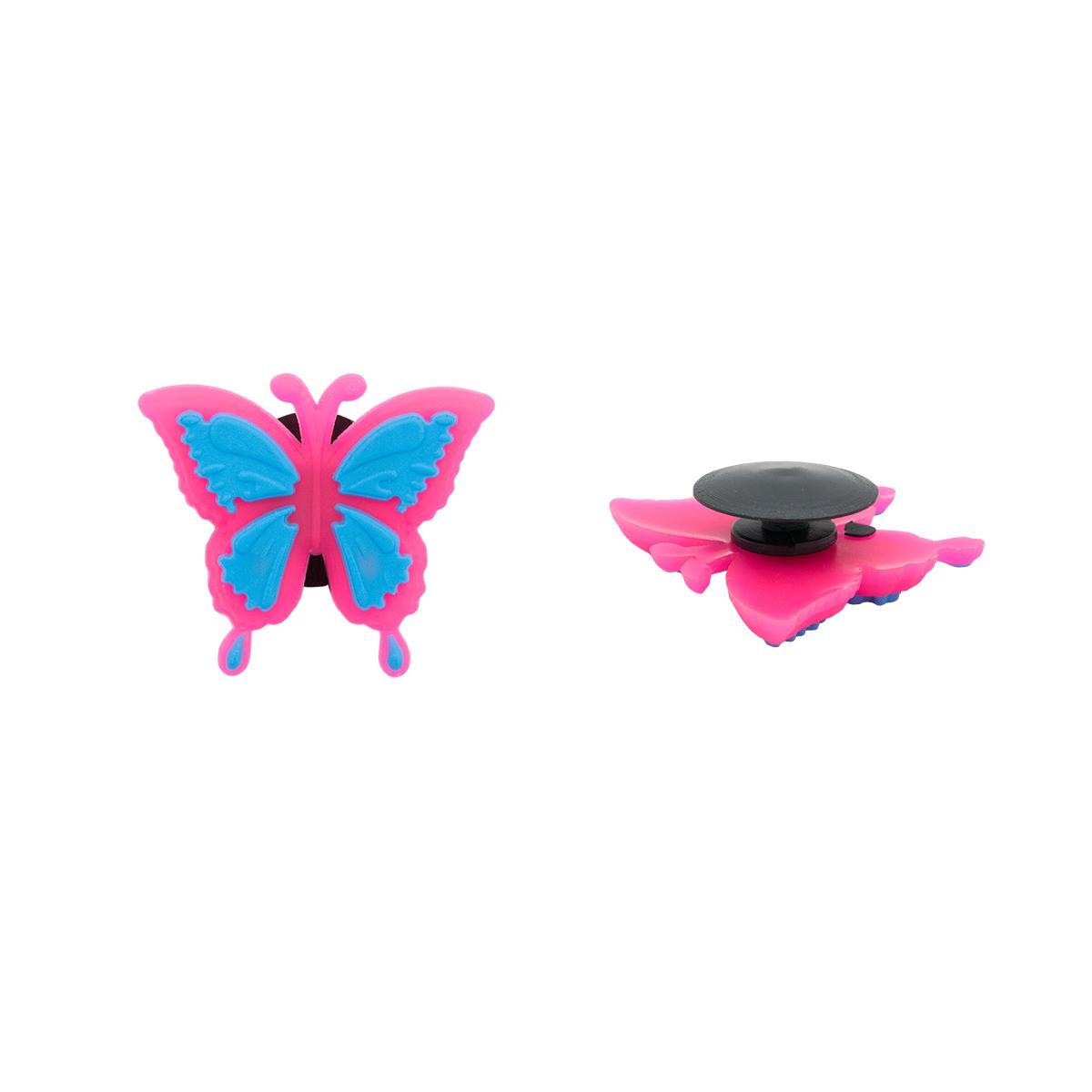 Украшение для обуви и сумок «Бабочка» (розово-голубой)