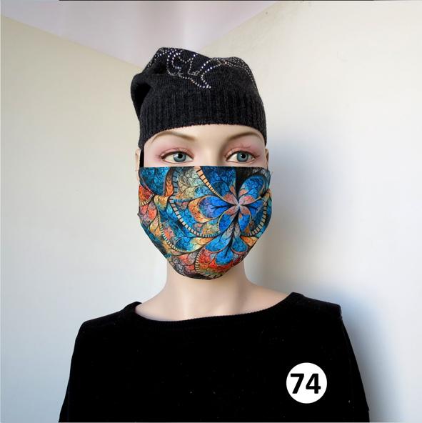 Повязка (маска) принтованная от пыли 'Мозаика голубая 74'