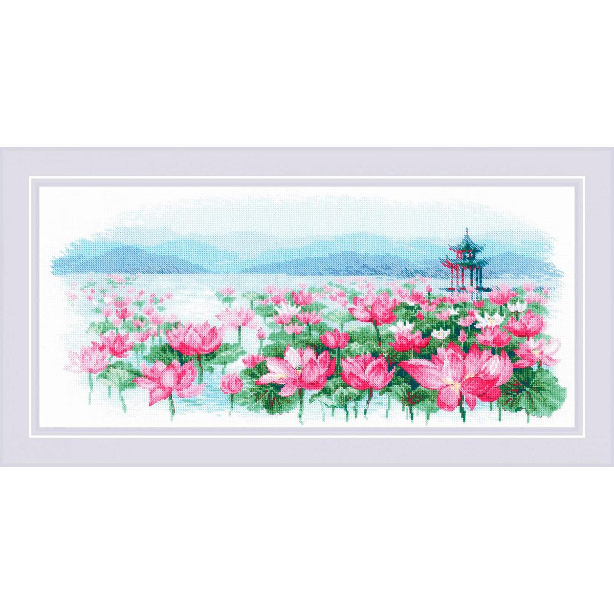 1869 Набор для вышивания Риолис 'Поле лотосов. Пагода на воде'55*25см