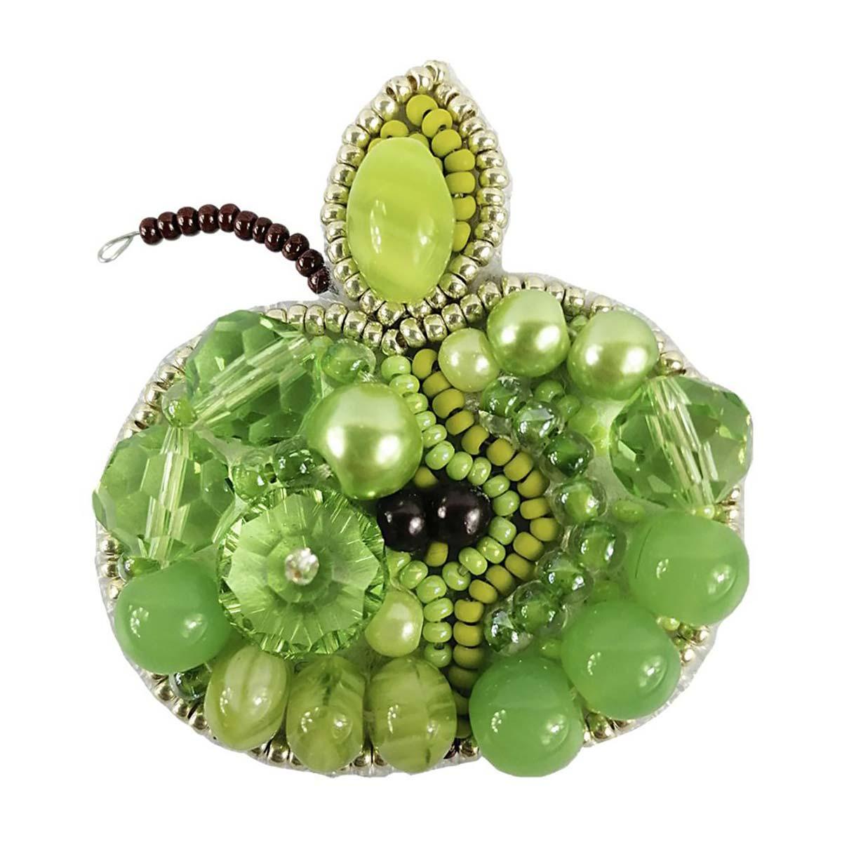 БП256 Набор для изготовления броши 'Зелёное яблоко' брошь 5,5*5,0см.