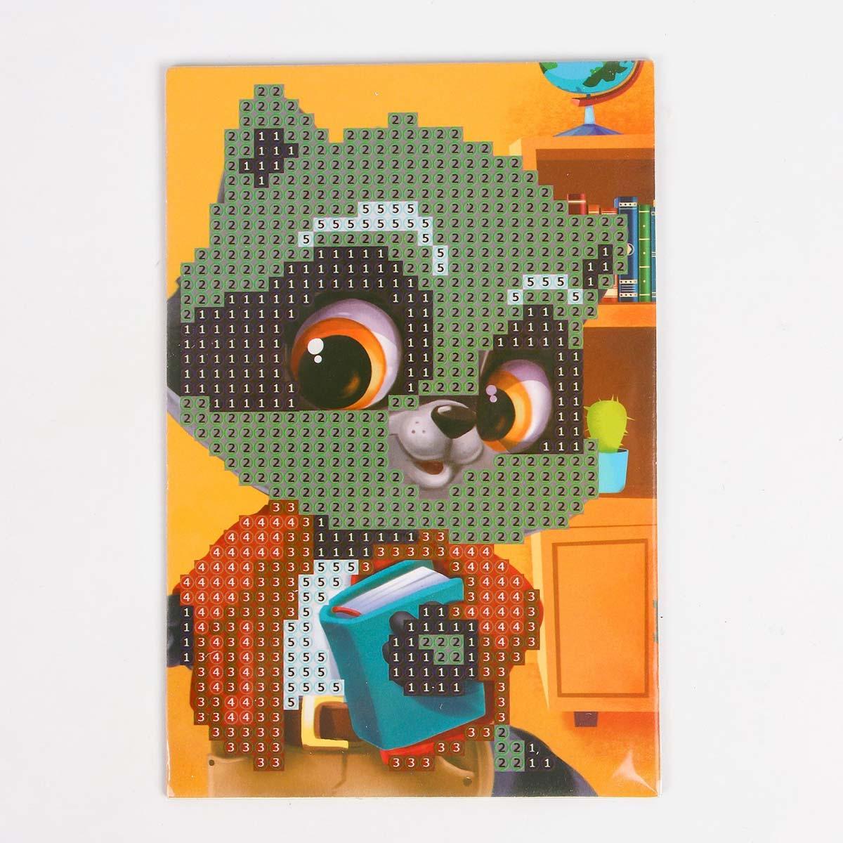 4702907 Алмазная мозаика для детей «Енотик», 10*15 см.
