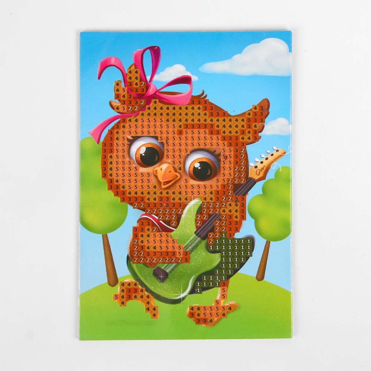 4702911 Алмазная мозаика для детей «Совушка с гитарой», 10*15 см. Набор для творчества