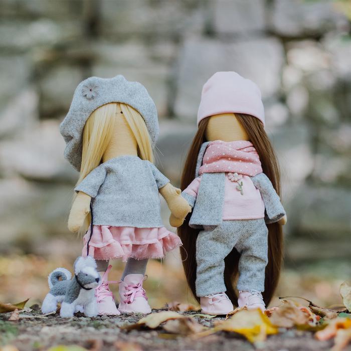 4716787 Интерьерные куклы «Подружки Вики и Ники- на прогулку» набор для шитья, 15,6*22.4*5.2 см