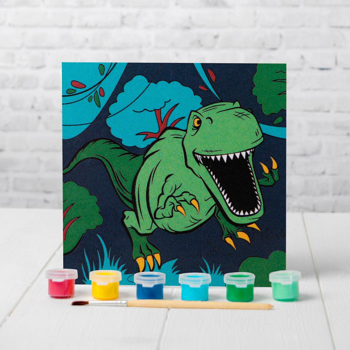 4719043 Картина по номерам 'Динозавр в джунгля*' 15*15 см