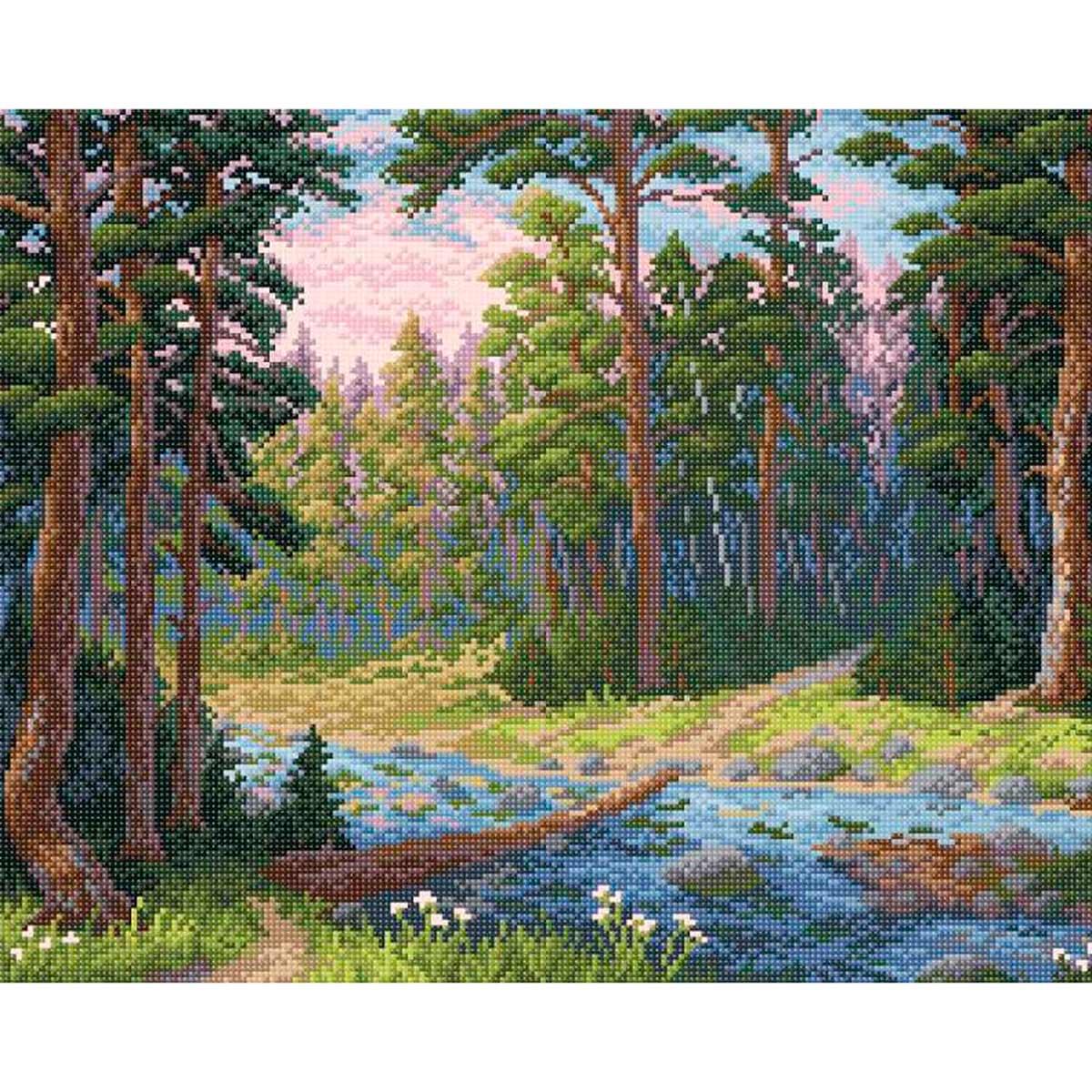 МС 003 Алмазная мозаика 'Лесная речка'48*38см Brilliart