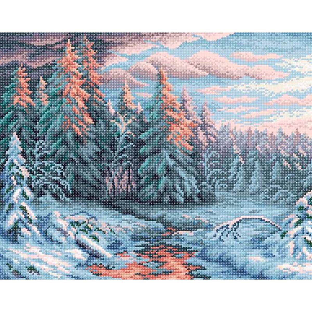 МС 004 Алмазная мозаика 'Зимний закат'48*38см Brilliart
